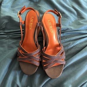 Navy and brown wedge sandal